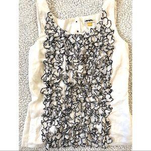 LEIF DOTTIR | 100% Cotton White / Black Ruffle Top